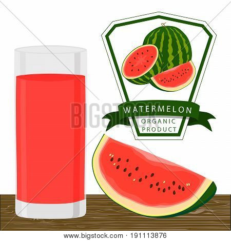 Vector illustration logo whole ripe red fruit watermelon green stem,cut half,sliced slice berry flesh,glass background.Watermelon drawing natural sweet food.Drink tropical fruits watermelons in glass.