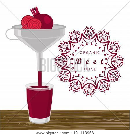 Abstract vector illustration logo for whole ripe vegetables red beet with cut sliced background glass. Beet drawing consisting of tag label peel fruits pip ripe sweet food. Drink fresh glass beets.