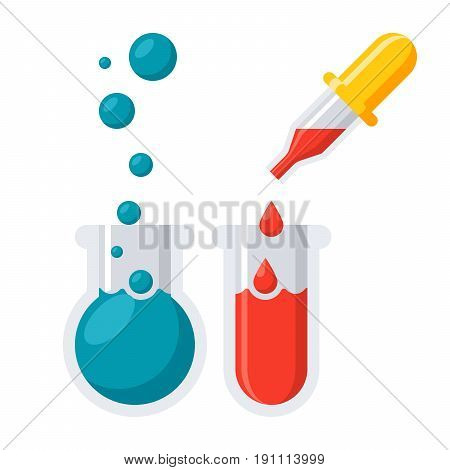 Laboratory icon with different laboratory glassware, vector illustration in flat style