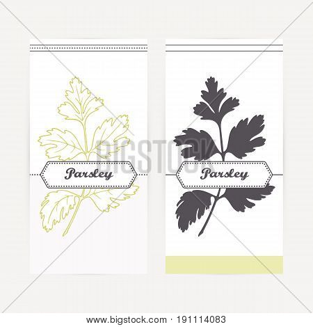 Parsley seasoning. Hand drawn branch with leaves in outline and silhouette style. Spicy herbs retro labels collection for food packaging or kitchen design. Vector illustration