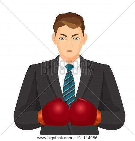 Businessman in suit with shirt and striped tie isolated on white. Vector colorful illustration of man presenting business and sport