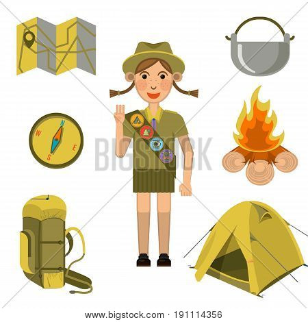Scout girl in uniform showing honor hand sign and necessary equipment collection around. Child summer rest outdoors vector illustration