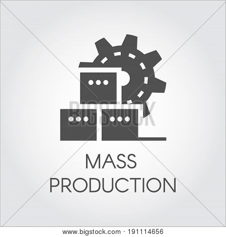 Black Icon in flat style of gear wheel and boxes. Mass production and modern machinery equipment concept. Pictogram or infographic element. Vector illustration