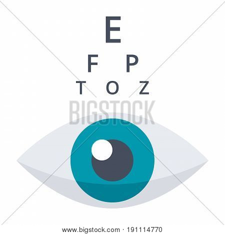 Optometry concept with eye and Snellen chart, vector icon in flat style