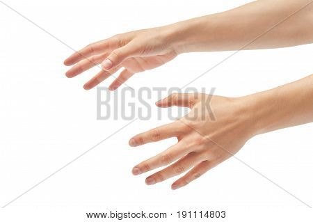Beautiful Female Hand Stifling Gesture. Isolated On White Background
