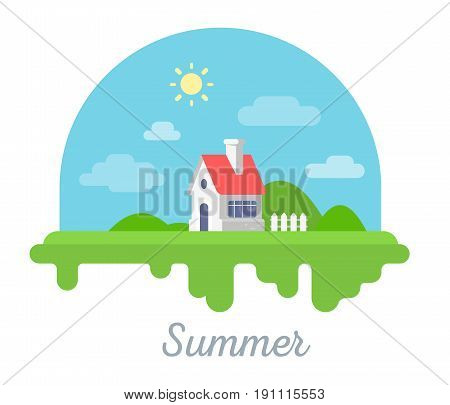 Vector Seasonal Illustration Of Beautiful House With Chimney And Fence On Green Grass. Summer Season
