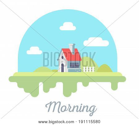 Vector Beautiful Illustration Of  House With Chimney And Fence On Green Grass. Morning Countryside C