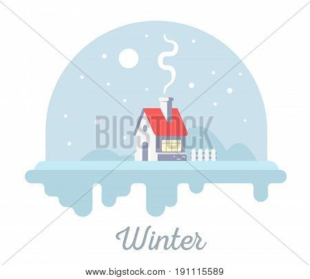Vector Seasonal Illustration Of Sweet House With Chimney And Smoke. Winter Season Concept With Snowf