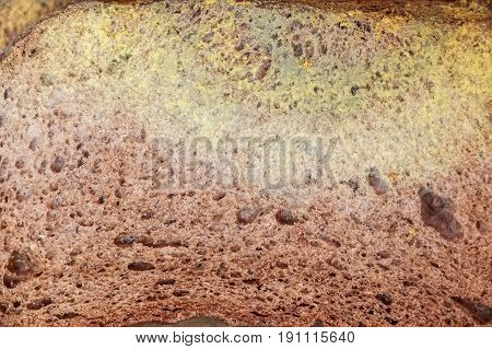 Closeup texture of slice of old rye bread with mold
