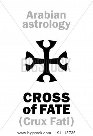 Astrology Alphabet: CROSS of FATE (Crux Fati), point of horoscope. Hieroglyphics character sign (single symbol).
