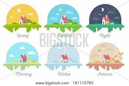 Vector Set Of Illustrations Of Beautiful House With Chimney And Fence. Four Seasonal Rural Landscape