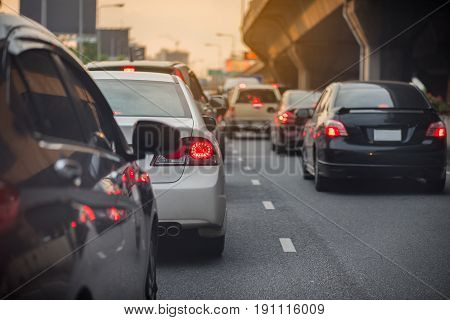 Traffic Jam With Row Of Cars On High Way To The City