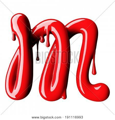 Glossy red letter M uppercase. 3D rendering font with glint isolated on white background.