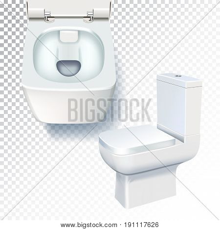 White toilet mockup. Realistic vector illustration of toilet bowl on transparent background