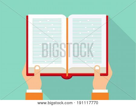 Hands holding book. Reading book concept. Book icon in flat style. Vector stock.
