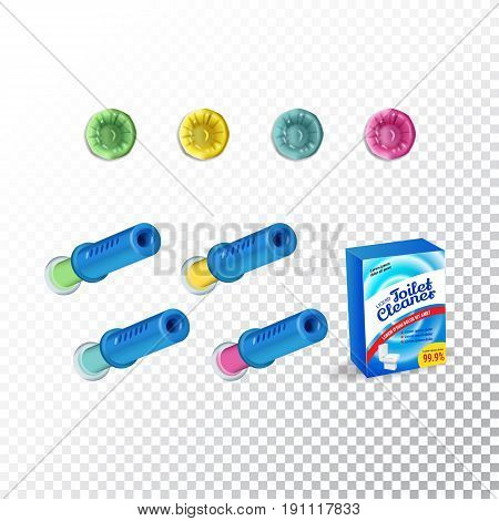 Set of Template Toilet Cleaning Gel. Plastic multicolor dispensers box and gel discs. Vector Illustration isolated objects
