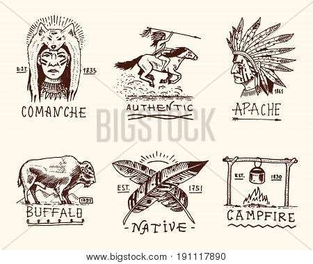 set of engraved vintage, hand drawn, old, labels or badges for indian or native american. buffalo, face with feathers, horse rider, apache or comanche, campfire and authentic