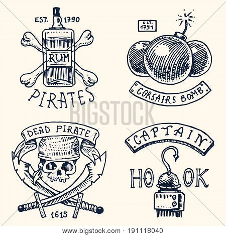 set of engraved, hand drawn, old, labels or badges for corsairs, bottle of rum and bone, bomb, skull with sabers, hook. Jolly roger. Pirates marine and nautical or Caribbean sea, ocean emblems