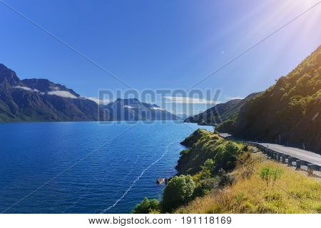 Beautiful scenic road along the Lake Wakatipu in Queenstown South Island of New Zealand