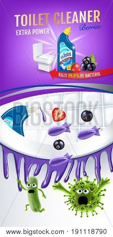 Berries fragrance toilet cleaner ads. Cleaner bobs kill germs inside toilet bowl. Vector realistic illustration.