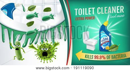 Cool mint fragrance toilet cleaner ads. Cleaner bobs kill germs inside toilet bowl. Vector realistic illustration.