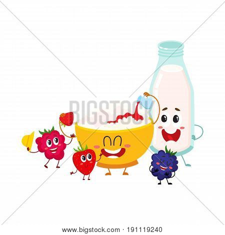 Funny bowl of cottage cheese, milk bottle and berry characters, healthy breakfast, cartoon vector illustration isolated on white background. Cute cottage cheese bowl, milk bottle and berry characters