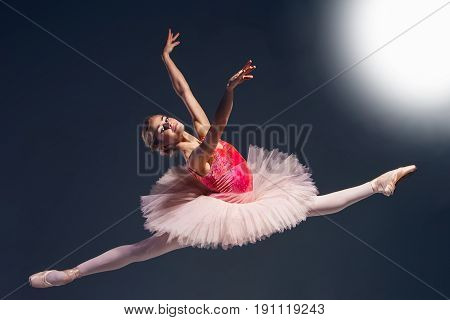 Beautiful female ballet dancer on a dark background. Ballerina is wearing pink tutu and pointe shoes