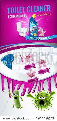 Orchid fragrance toilet cleaner ads. Cleaner bobs kill germs inside toilet bowl. Vector realistic illustration.