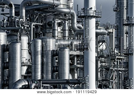 Pipework at a petrochemical industrial power plant