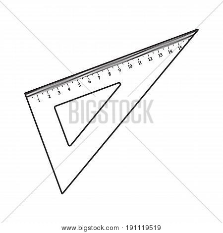 Simple hand drawn plastic angle ruler, office supply, school stationary, black and white sketch style vector illustration isolated on white background. Realistic hand drawing of school angle ruler