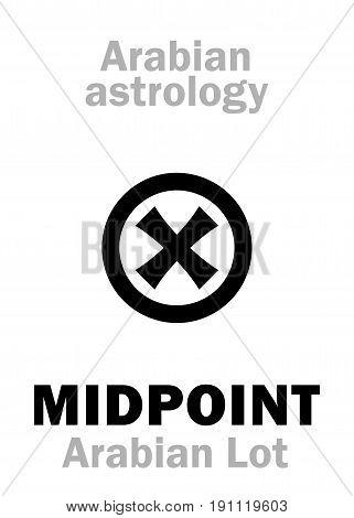 Astrology Alphabet: MIDPOINT, Arabian point of horoscope. Hieroglyphics character sign (single symbol).