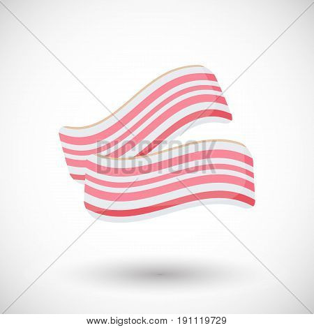 Bacon vector flat icon Flat design of food culinary or breakfast object with round shadow