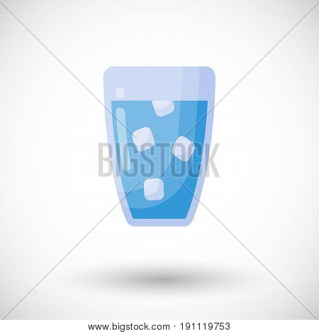 Glass of water vector flat icon Flat design of food health care of watering object with round shadow