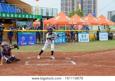 ZHONGSHAN GUANGDONGChina - October 28:unknown catcher just catched a foul ball in a baseball game on October 28 2016.