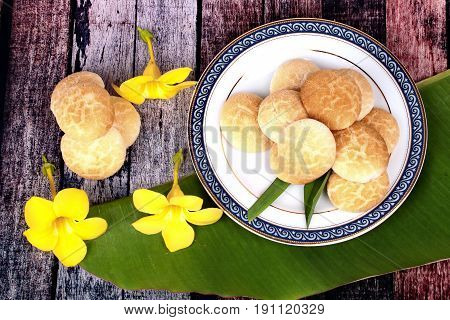 Thai Sweetmeat Made Of Roasted Flour, Egg And Sugar.
