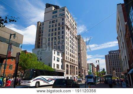 Portland Maine USA - July 5 2016 - Time and Temperature Building. The Time and Temperature Building is a fourteen story office building located on Congress Street in downtown Portland Maine.