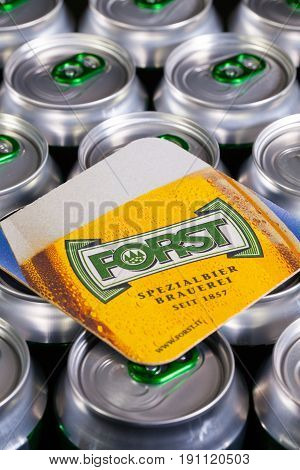 Forst Italy - January 112015: Beermat from Forst beer on the cans.Forst is an Italian brewing company based in Forst.The brewery was founded in 1857. Illustrative - Editorial.