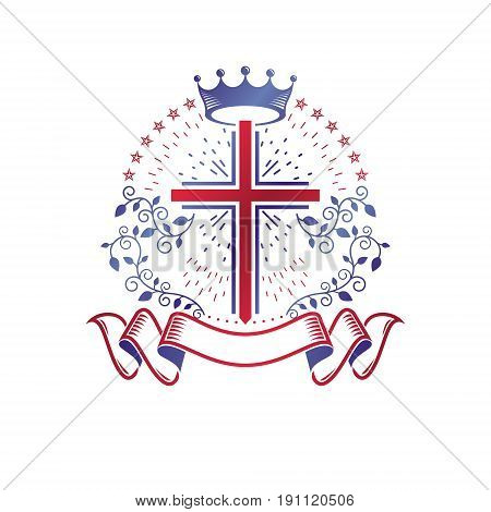 Cross Religious graphic emblem created using imperial crown and floral ornament Christian crucifixion. Heraldic Coat of Arms vintage vector logo decorated with beautiful ribbon.