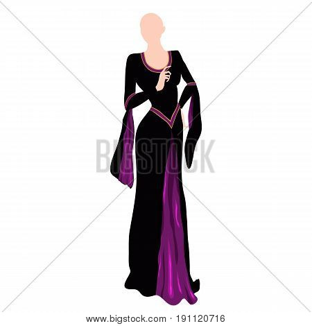 the black and violet dress on dummy