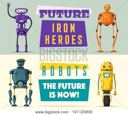 Set of robots. Technology, future. Cartoon vector illustration. Vintage style. Evolution of technologies
