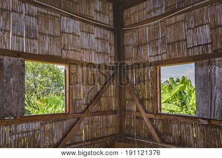 Traditional Ecuadorian Cane House Interior View