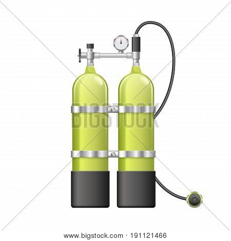 Aqualang or Scuba Oxygen Balloons. Vector illustration of yellow Diving Equipment. Underwater sport item. dive icon