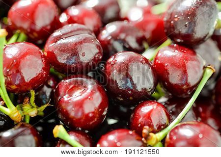 Delicious fresh cherry with water drops. Berries. Beautiful red cherries. Sweet summer fruits, healthy food, organic vegetarian snack. Nice artistic photo for posters, interior, design, prints, shops.