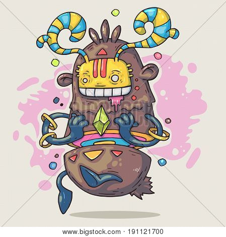 Cartoon funny monster with emerald. Cartoon illustration in comic trendy style.