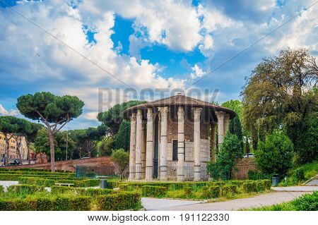The Temple of Hercules Victor in the Piazza Bocca della Verita in Rome, Italy. The Temple dates back to the late 2nd century BC.