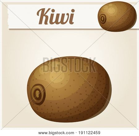 Kiwi fruit. Cartoon vector icon. Series of food and drink