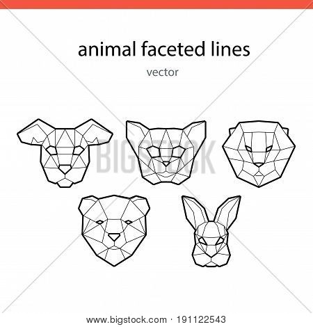 Animal faces of the line vector. Faceted faces of animals