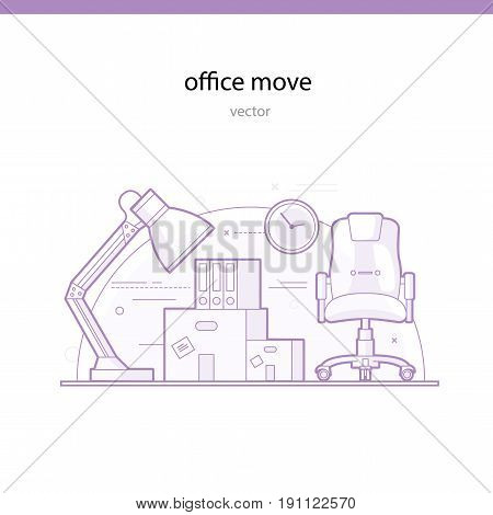 Office move line vector illustration. Cargo company services for transportation of office furniture and accessories