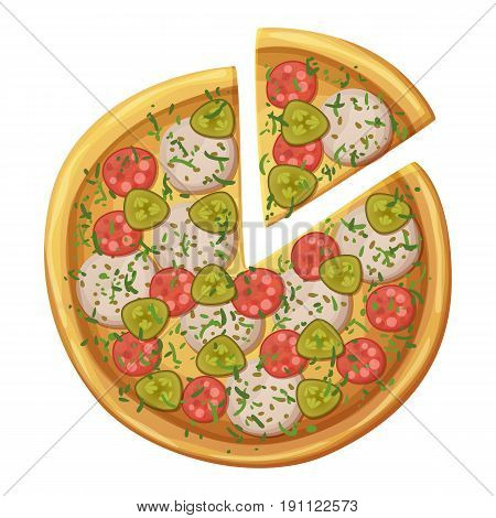 Pizza top view. Salami, sausages, pickled cucumber, mozarella cheese, dill, herbs. Cartoon vector food illustration isolated on white background. American and Italian fast food pizza