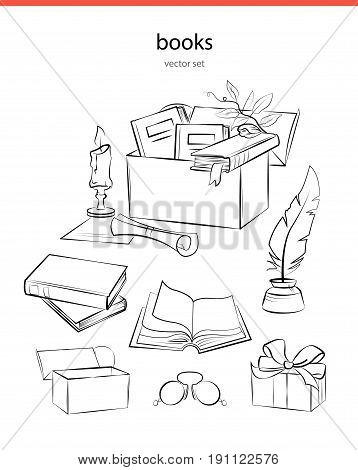 Box booxs line vector illustration. Gift of the book in the box